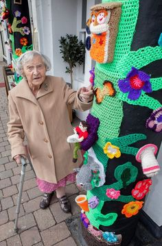Grace Brett, 104-year-old yarn bomber. Selkirk, Scotland. Yarn bombed the town (click on picture to go to full link)
