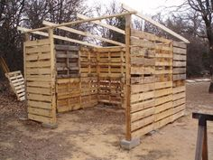 shed made from pallets. i want to use these to build a pallet playhouse.