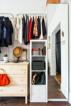 """A slim PAX wardrobe unit with a mirror door is a great 2-in-1 solution for a small space. """"I love that the PAX cabinet houses my shoes and doubles as a full-length mirror"""", says Chloe Daley at #refinery29."""