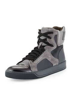 Mixed-Media High-Top Sneaker, Black/Beige by Lanvin at Neiman Marcus.