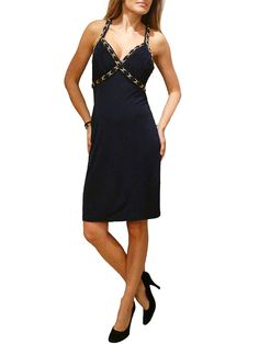 BLUMARINE NAVY BLUE OPEN BACK GOLD CHAIN DRESS. 40 $650  http://www.boutiqueon57.com/products/blumarine-navy-blue-open-back-gold-chain-dress-40