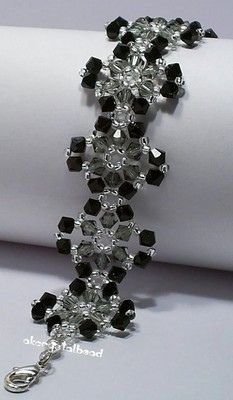 Black & Gray Swarovski Crystal Bracelet#1