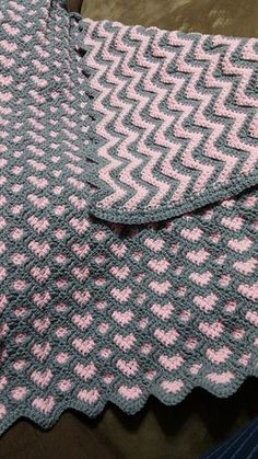 Beautiful reversible sweetheart ripple hearts crochet blanket afghan in pink and grey