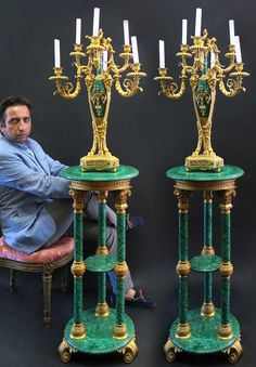 Buy online, view images and see past prices for Russian Malachite Pair of Pedestals & Candelabras. Invaluable is the world's largest marketplace for art, antiques, and collectibles.