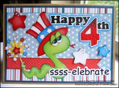 Happy 4th of July card created by PAPER PIECING MEMORIES BY BABS.