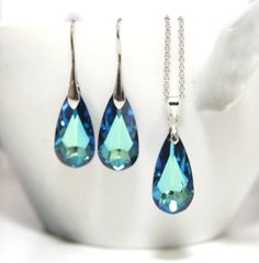 Bermuda Blue Faceted Teardrop Crystal Earrings and Necklace Set, Swarovski Crystal, gifts for her, Something blue, blue weddings, bridal