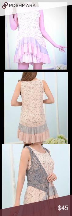 Floral Print Sleeveless Tunic w layered ruffle Too cute Floral Print Sleeveless Tunic w layered ruffle detail is perfect for spring.  (Beige ruffled underslip not included but does have a lining).  NWT Paisley Vine Tops Tunics