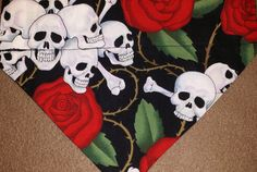 Skulls and Roses Dog Bandanas!! by DogGoneGoodBandanas on Etsy