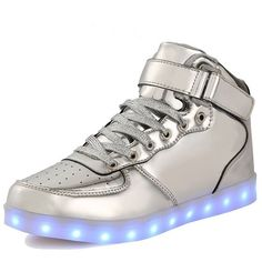 AnnabelZ LED Shoes High Top Men Women Light Up Shoes USB Charging... ($61) ❤ liked on Polyvore featuring men's fashion, men's shoes, men's sneakers, mens silver shoes, mens high tops, mens silver high top sneakers, mens gold high tops and mens hi top shoes