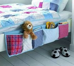 Quilted bedside pockets - such a cute idea for kids room