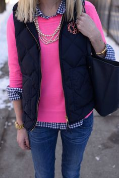 pink sweater, navy blue J Crew puffy vest & CWonder tote
