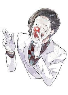 "Anyone wonder why his alias is ""Mr."" Many theories. Kaneki, Manga Art, Manga Anime, Anime Art, Anime Boys, Tokyo Ghoul Furuta, Nimura Furuta, Juuzou Suzuya, Anime Merchandise"