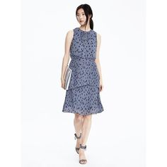 Banana Republic Womens Pleated Dot Print Dress featuring polyvore, women's fashion, clothing, dresses, blue print, petite, petite dresses, tiered ruffle dress, tiered dress, white day dress and blue dress