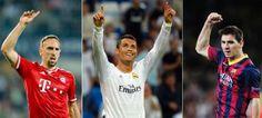 (Izq-dcha): Combinación de imágenes que muestran a los tres candidatos al Balón de Oro 2013, el alemán Franck Ribery, del Bayern Múnich; el ...