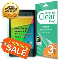 Save $15.00 on [3 PACK ULTIMATE CLEAR+] New Google Nexus 7 2013 2nd Generation Model Screen Protector with [Lifetime Replacement...; only $4.99 + Free Shipping
