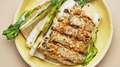 Grilled Halibut and Bok Choy with Coconut-Lime Dressing Recipe — Bon Appétit Halibut Recipes, Grilled Chicken Recipes, Fish Recipes, Seafood Recipes, Seafood Meals, Grilled Food, Recipies, Healthy Grilling Recipes, Cooking Recipes