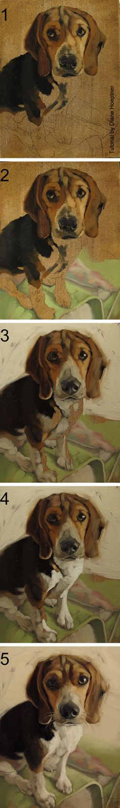 Paint a dog!  A step by step illustrated painting tutorial by Diane Hoeptner.