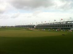 """PGA Professional Michael Haywood gave us this shot of the 18th green Thursday morning. """"Crowds getting a little bigger with the big names comin through,"""" he says."""