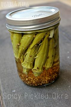 Spicy Pickled Okra - oysters and pearls