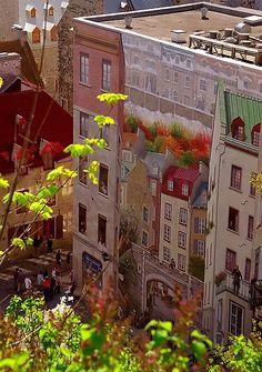 "Place Royale ""Fresque des Quebecois Mural"" in Quebec City_ Canada"