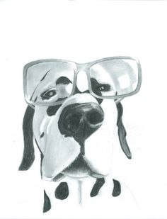 """Thoughtful Dalmatian """"Deirdre"""" Print of Original Drawing, Pencil/Charcoal Drawing, Funny, Cute, Quirky, Animal Art, Spotty Dog, Size11x14"""