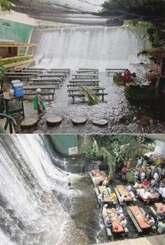 The Labassin Waterfall Restaurant, located at the Villa Escudero Resort in the Philippines  Philippines Vacaciones Få mere information på vores websted   https://storelatina.com/philippines/travelling #பிலிப்பைன்ஸ் #फिलीपींस #Filipine #philipíní  Philippines Vacaciones  Accedi al sito per informazioni   https://storelatina.com/philippines/travelling