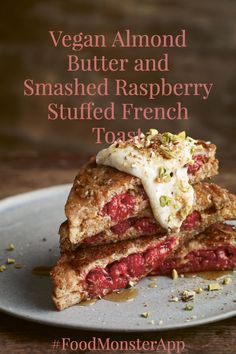 Almond Butter and Smashed Raspberry Stuffed French Toast [Vegan] Check out this awesome vegan, plant-based, simple recipe on the Food Monster App! And don't forget to pin to your favorite board! Gourmet Recipes, Whole Food Recipes, Vegetarian Recipes, Healthy Recipes, Vegan Breakfast Recipes, Vegetarian Breakfast, Breakfast Ideas, Food Print, Don't Forget