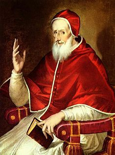 Pope Pius V (1536-1572) In 1570 he issued a papal Bull, excommunicating Elizabeth I  and absolving her subjects from allegience to her. This drastic step was not approved by Philip II of Spain and it exacerbated the already perilous situation for the Catholics of England. Pius V gave his written approval for the Ridolfi plot of 1571 whereby Mary Queen of Scots would replace Elizabeth I on the English throne