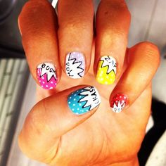 I came across some fun comic book looking nails and knew there had to be more designs out there for me to share with you all! These nails are super fun Really Cute Nails, Cute Nail Art, Pretty Nails, Beautiful Nail Designs, Cute Nail Designs, Sassy Nails, Fun Nails, Comic Book Nails, Uñas Diy