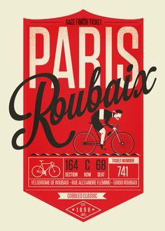 cadenced:  Paris-Roubaix poster by Neil Stevens.