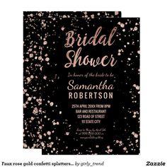 Faux rose gold confetti splatters bridal shower card
