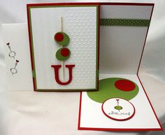 Olive U! (from left to right) Card envelope, Card Front, card interior. SU paper, inks, & ribbon: Whisper White, Real Red & Old Olive (what else!?) Cocktail stick from the grocery store. (my favourite part: two different embossing patterns on the front)