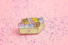 Box of Kittens Soft Enamel Lapel Pin with Pastel by WeAreExtinct