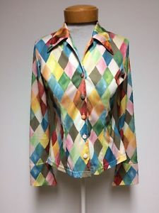 Le Chateau Medium Polyester Blouse Pastel Diamond Pink Yellow Made In Canada | eBay