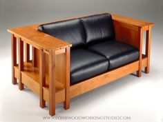 An arts and crafts style table loveseat made to be seen and used from all sides: table surface around arms and back, shelving around the base and custom upholstery. Craftsman Style Furniture, Mission Style Furniture, Craftsman House Plans, Arts And Crafts Furniture, Furniture Projects, Home Projects, Woodworking Blueprints, Woodworking Ideas, Mission Style Homes