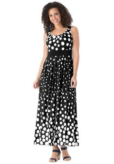 """Our plus size polka dot dress falls long and easy in relaxed maxi length. So pretty—and perfect for the season. Just put it on and go. full, cling-free fit for total comfortyour favorite 52"""" maxi length falls to lower calfsleeveless styling allows arms to move with total freedomempire waist seam creates definition and proportionsoft, washable polyester/spandex, importedpair with a cardigan don't forget comfortable footwear  Women's dresses & maxi dresses in sizes M(14W-16W), L(18W-..."""