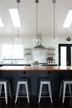 vaulted ceilings in kitchen may require shelves instead of cabinets