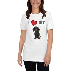 A tshirt for Dachshund mom and parent from our new collection, I Love My Dog. Dog Mom Shirt, Dog Wear, Dog Design, Hoodies, Sweatshirts, I Love Dogs, Dachshund, Dog Lovers, T Shirts For Women