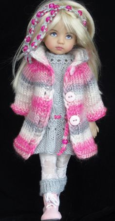coat and dress and set made for Effner little darling dolls: Knitted Dolls, Crochet Dolls, Crochet Clothes, Crochet Baby, Pretty Dolls, Cute Dolls, Beautiful Dolls, Clothes Crafts, Doll Clothes