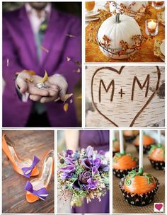 I only pinned this for the cake pops and pupmkin arrangement! They're such cute ideas. NOT a fan of the purple suit lol