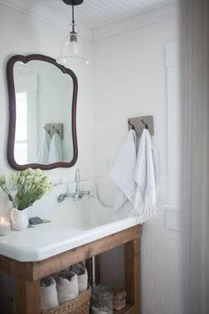Farmhouse Bathroom Decor- Antique Farmhouse Sink and Vintage Mirror