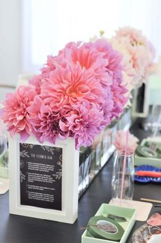 Floral centerpieces for a floral arranging party - get arranging tips, decor ideas and more at fernandmaple.com!