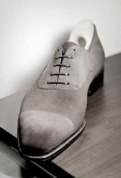 Oxford Suede Leather Shoes, Men Gray Denim Dress Formal Shoes For Men's Handmad - Dress/Formal