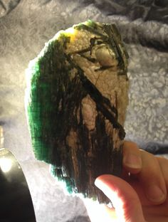 Stunning, Massive Blue/Green Tourmaline Specimen w Mica Scales- Wow! 577 Grams.