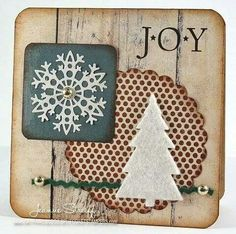 Christmas card square wood grain