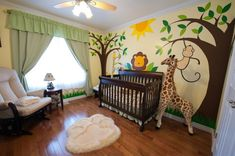 Adorable jungle nursery. I love this idea. Good for either a boy or girl.