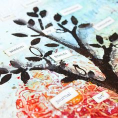 Art Journal Page Tree of live made for @donnadowney  Artist Gang. A new Video Tutorial is up in YouTube Artist Gang Channel. http://youtu.be/5k1Aw-rxpz8 #artjournal #artjournaling #artistgang #donnadowneyartistgang #mixedmedia #journal #stencilart