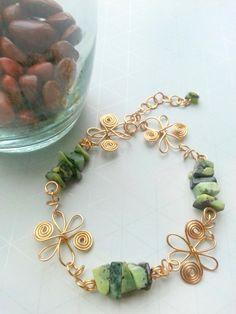 Jasper Gemstone bracelet wire wrapped jewelry handmade wire wrapped bracelet