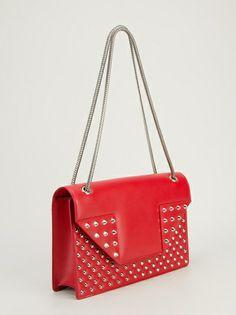 SAINT LAURENT - Bolsa vermelha em couro