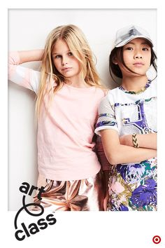 Welcome to Art Class, our new kids fashion brand. Love metallic and mesh? These are for you. The super shiny hat is a bold outfit-topper-offer for the sporty tropical camouflage dress. The pink shirt has soft white mesh on the sleeves and the shorts are metallic rose that can be worn with tennis shoes or boots or flats or anything! Get creative and mix and match. Welcome to Art Class, where style is what you make it. Only at Target.